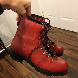 Red faux leather hiker boots